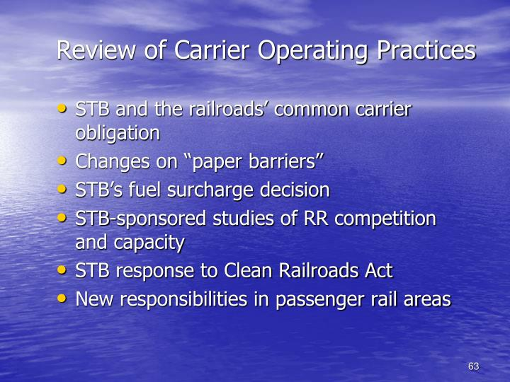 Review of Carrier Operating Practices