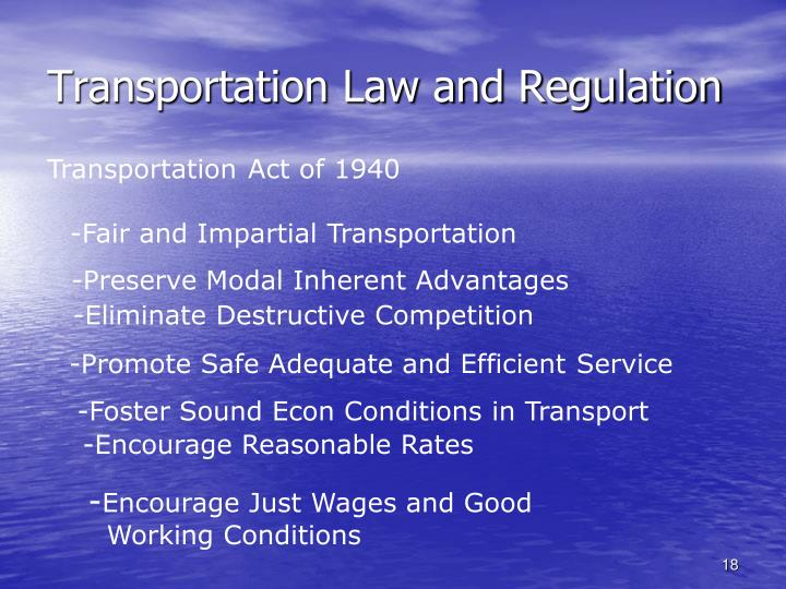 Transportation Law and Regulation