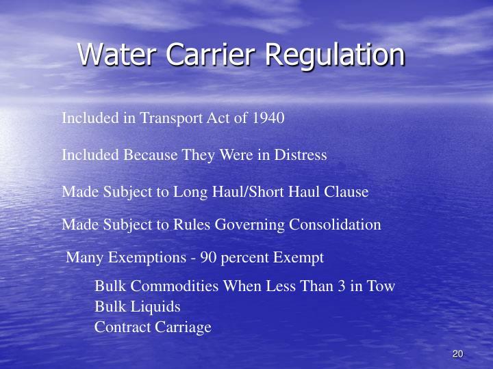 Water Carrier Regulation