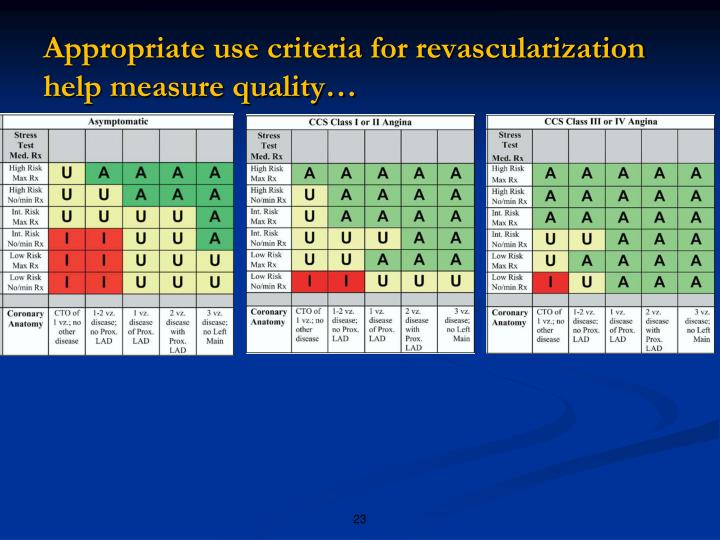 Appropriate use criteria for revascularization help measure quality…