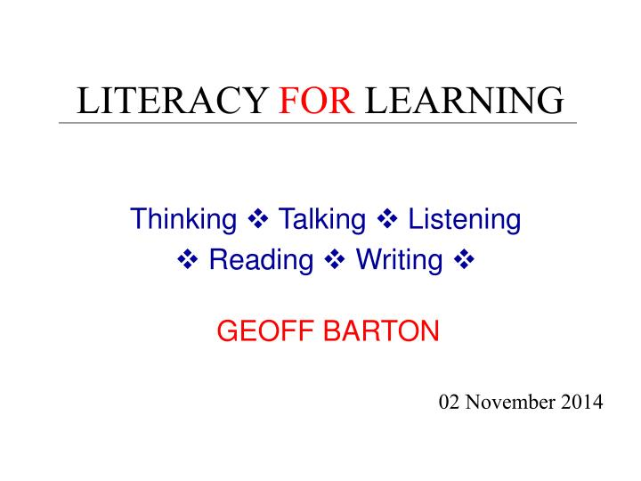 literacies for learning