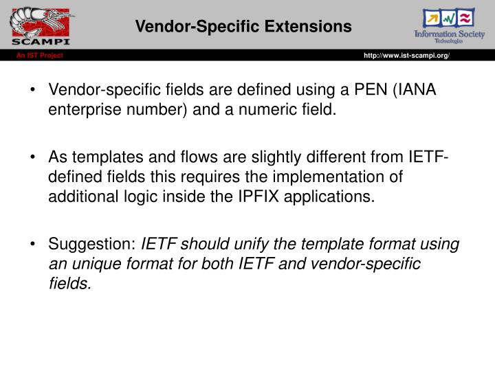 Vendor specific extensions