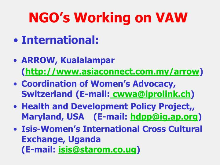 NGO's Working on VAW