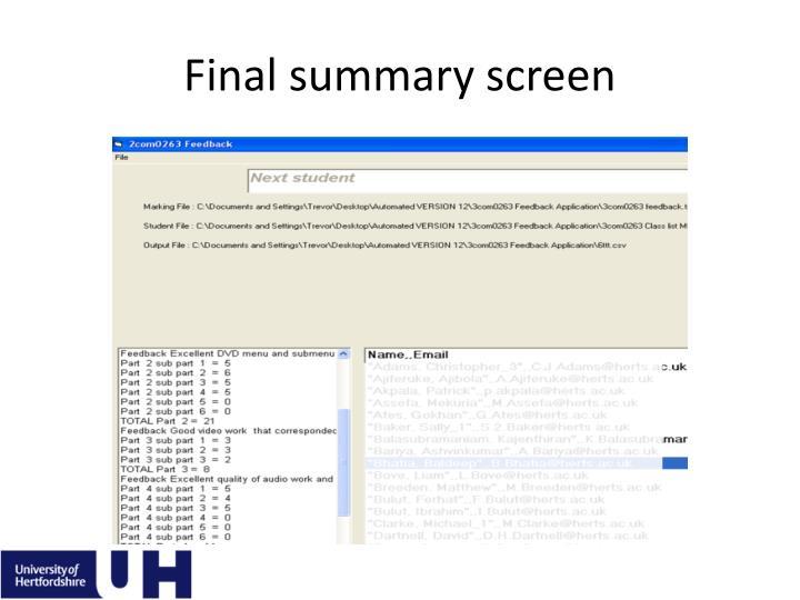 Final summary screen
