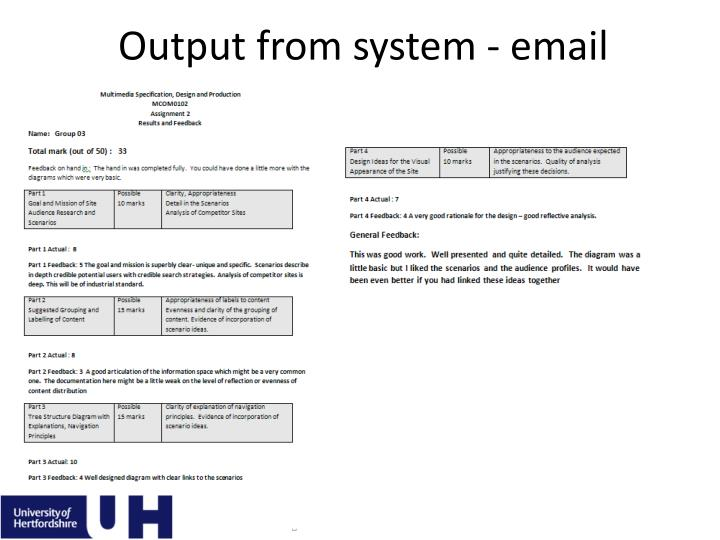 Output from system - email