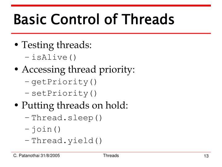 Basic Control of Threads