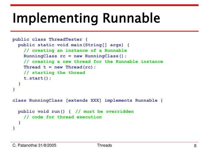 Implementing Runnable