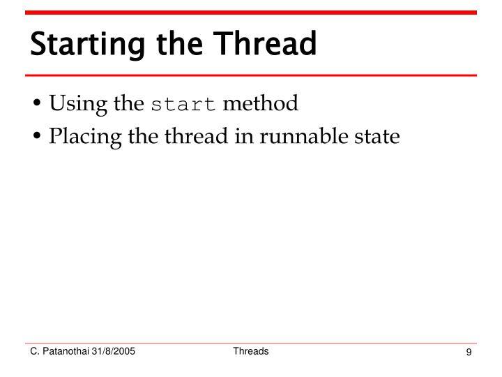 Starting the Thread