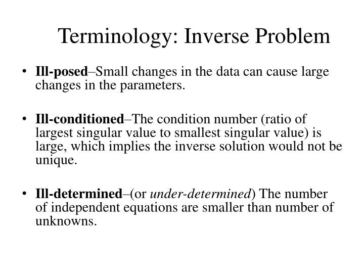 Terminology: Inverse Problem