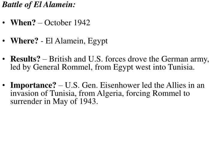 Battle of El Alamein:
