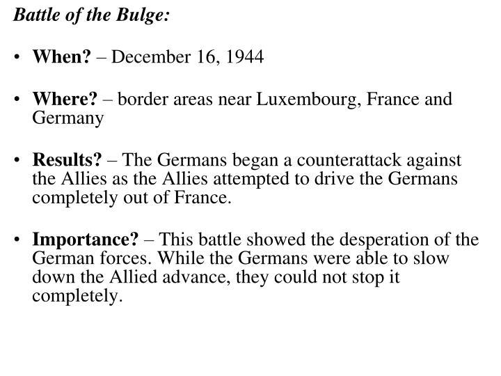 Battle of the Bulge: