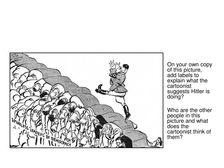 On your own copy of this picture, add labels to explain what the cartoonist suggests Hitler is doing?