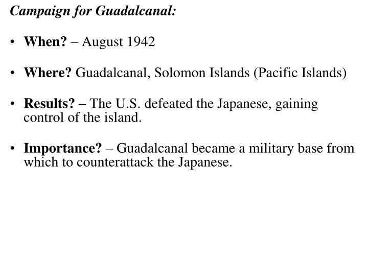 Campaign for Guadalcanal:
