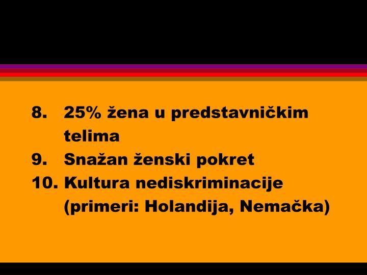 8.   25% žena u predstavničkim