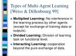 types of multi agent learning weiss dillenbourg 99