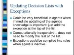 updating decision lists with exceptions1