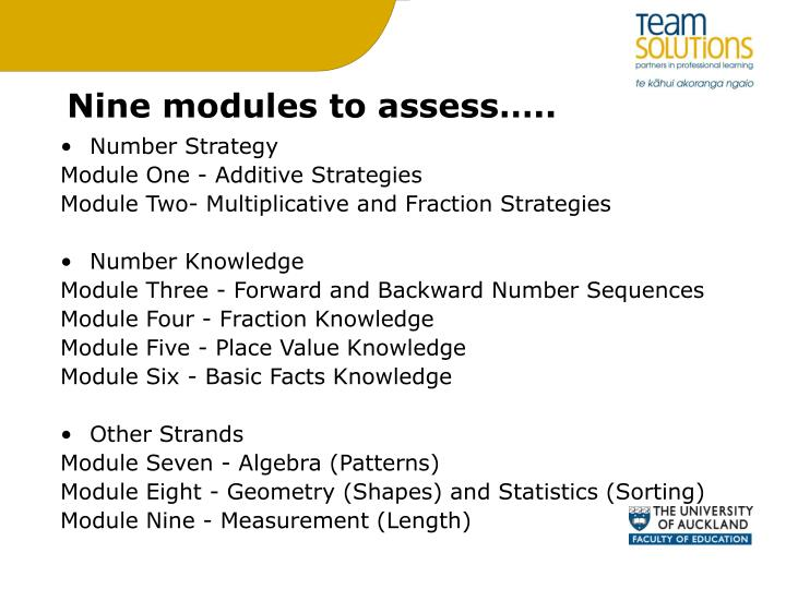 Nine modules to assess…..