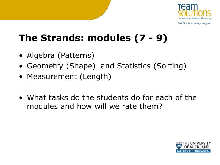 The Strands: modules (7 - 9)