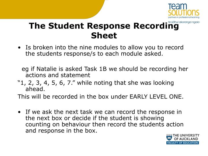 The Student Response Recording Sheet