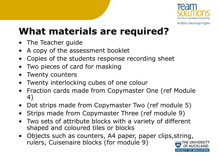 What materials are required?