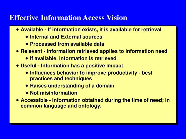 Effective Information Access Vision