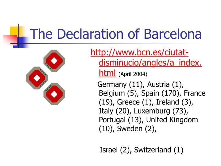 The declaration of barcelona