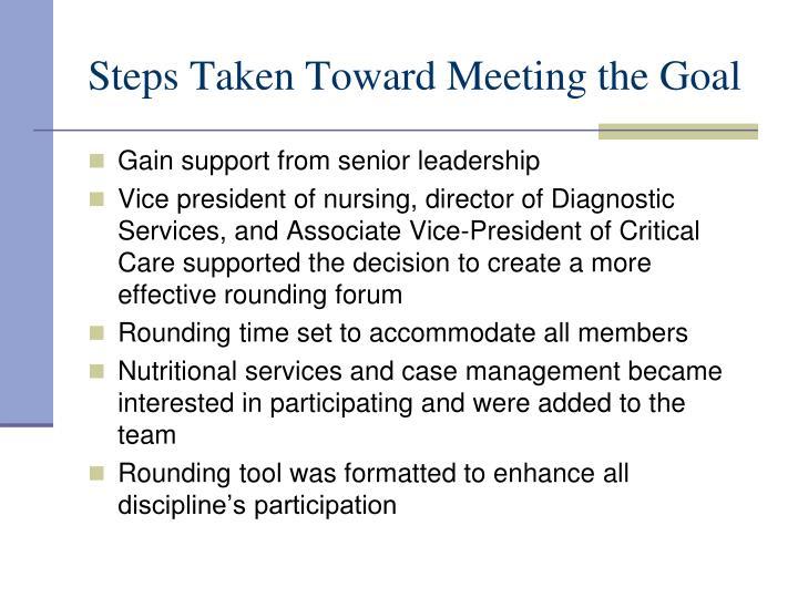 Steps Taken Toward Meeting the Goal