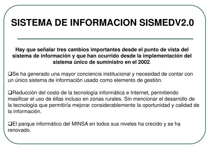 SISTEMA DE INFORMACION SISMEDV2.0