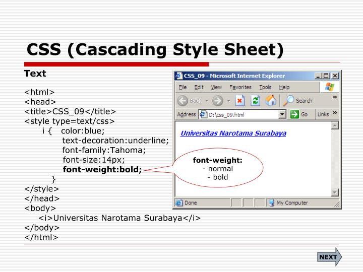 css cascading style sheet n.