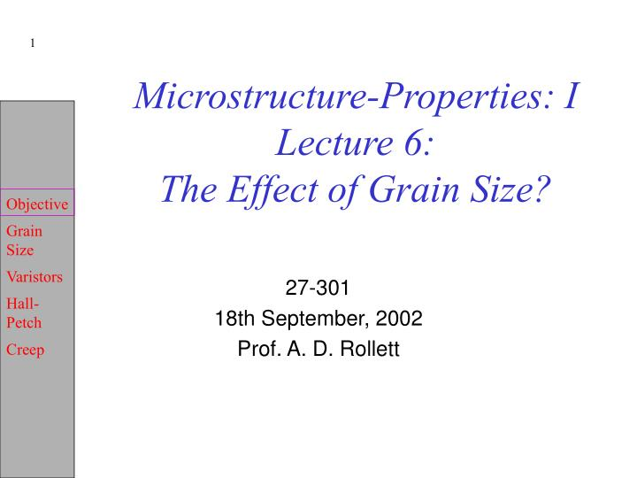 microstructure properties i lecture 6 the effect of grain size n.