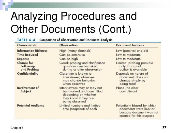 Analyzing Procedures and Other Documents (Cont.)