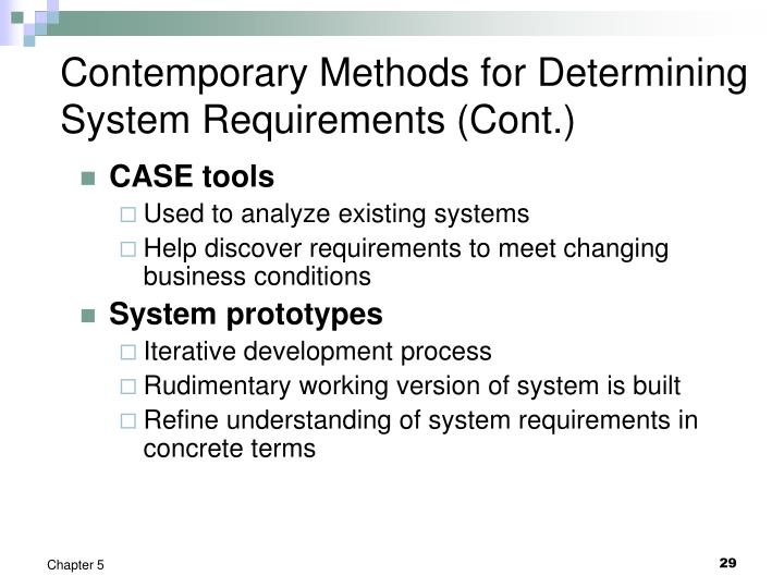 Contemporary Methods for Determining System Requirements (Cont.)