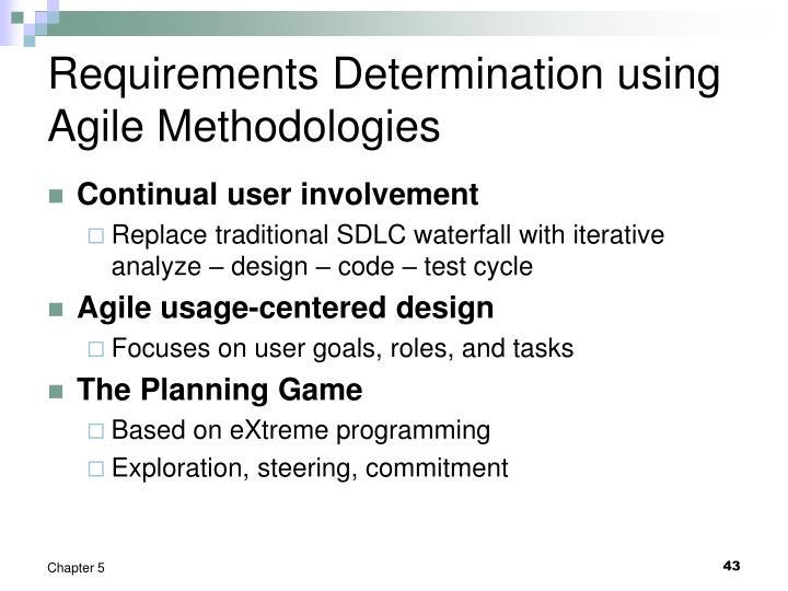 Requirements Determination using Agile Methodologies