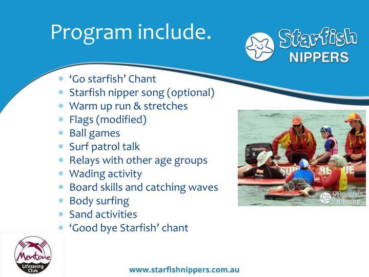 Program include.