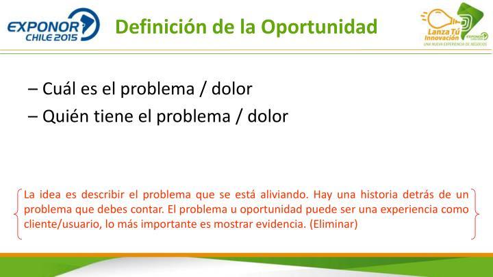 Definición de la Oportunidad