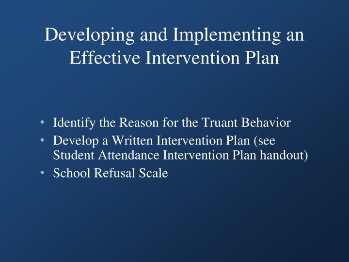 Developing and Implementing an Effective Intervention Plan