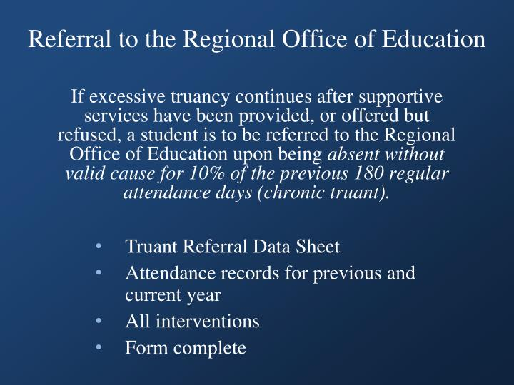 Referral to the Regional Office of Education