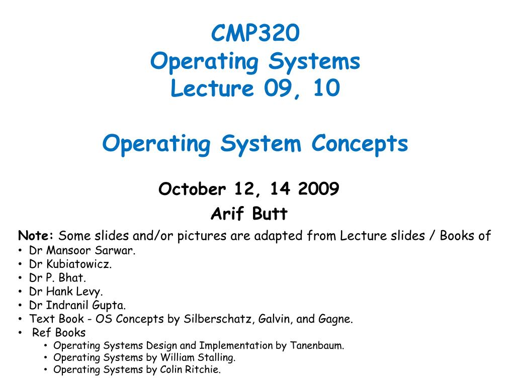 Ppt Cmp320 Operating Systems Lecture 09 10 Operating System