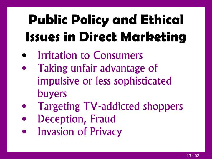 Public Policy and Ethical Issues in Direct Marketing