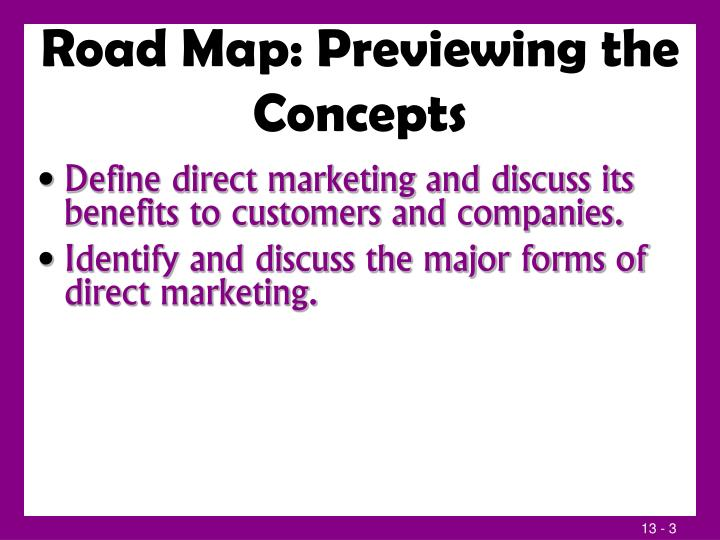 Road map previewing the concepts1