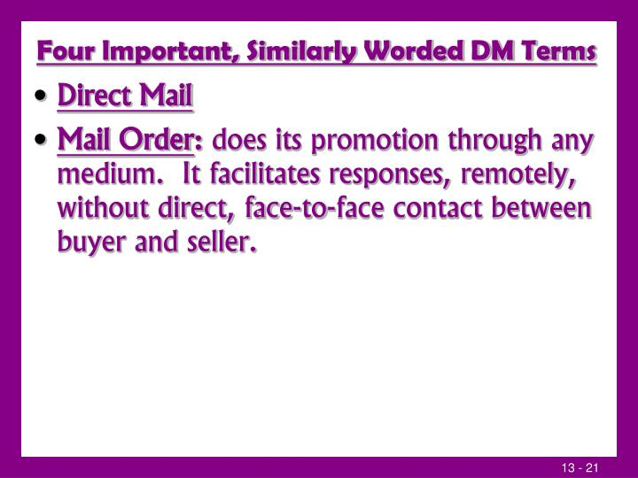 Four lmportant, Similarly Worded DM Terms