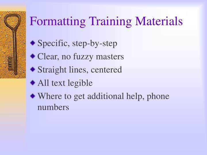 Formatting Training Materials