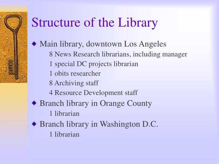 Structure of the library