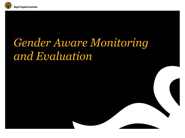 gender aware monitoring and evaluation n.