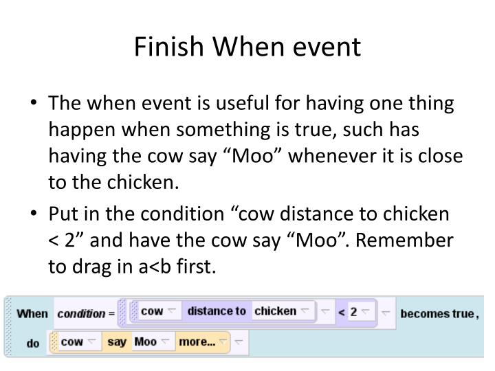 Finish When event