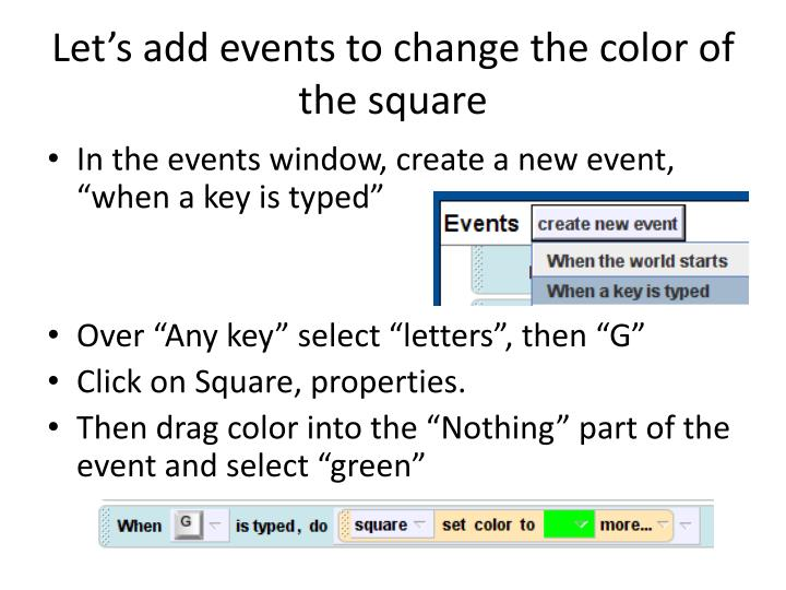 Let's add events to change the color of the square