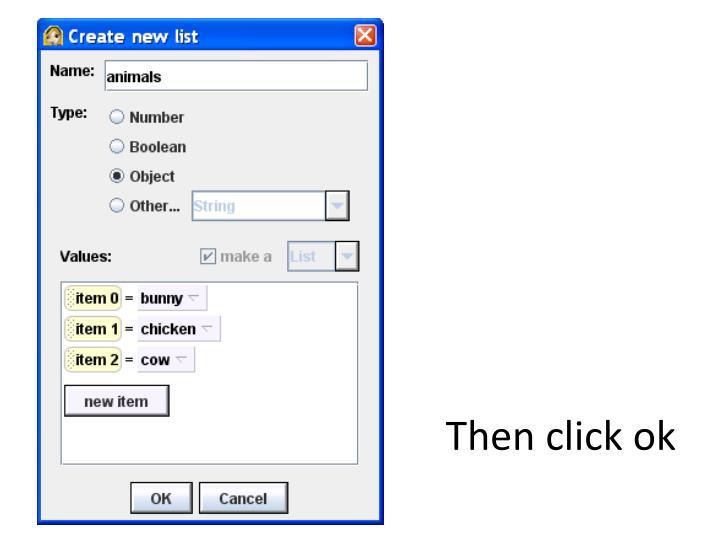 Then click ok