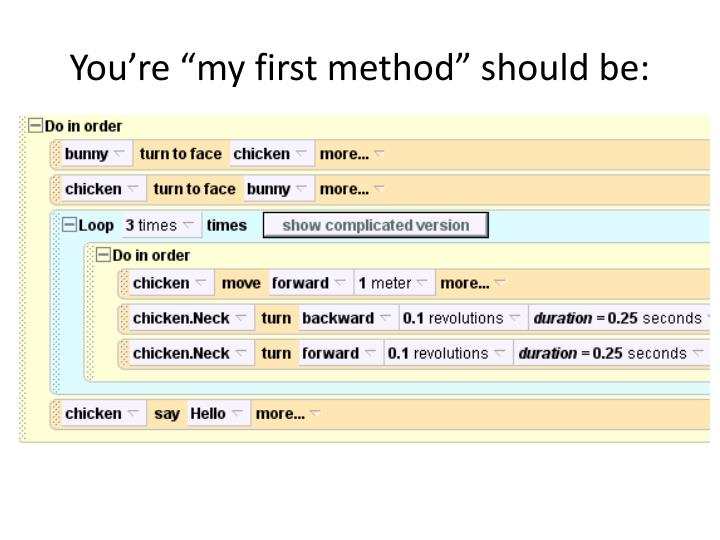 """You're """"my first method"""" should be:"""