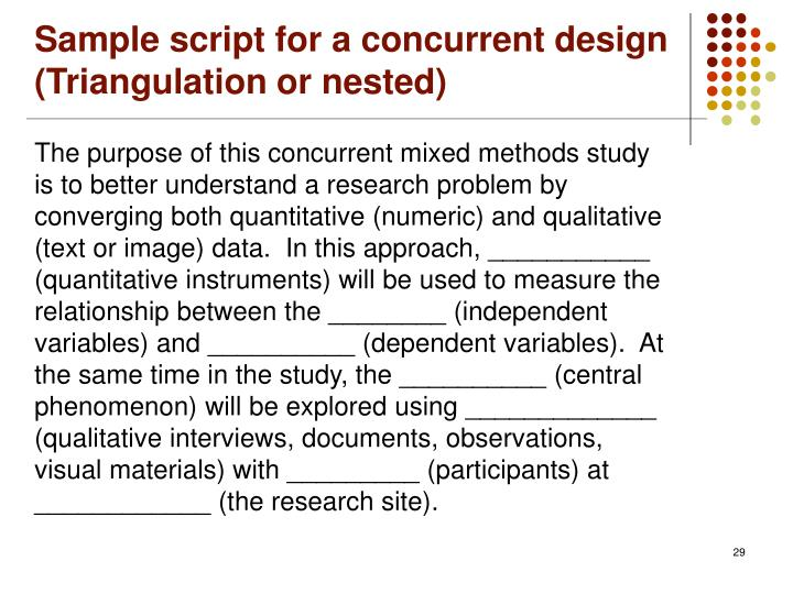using mixed method both qualitative If the balance of your mixed methods design favors qualitative data, the only a general research problem would be necessary, particularly if a grounded theory approach is taken in a nutshell, the use of research questions and hypotheses depends upon the purpose of your study (such as exploratory.