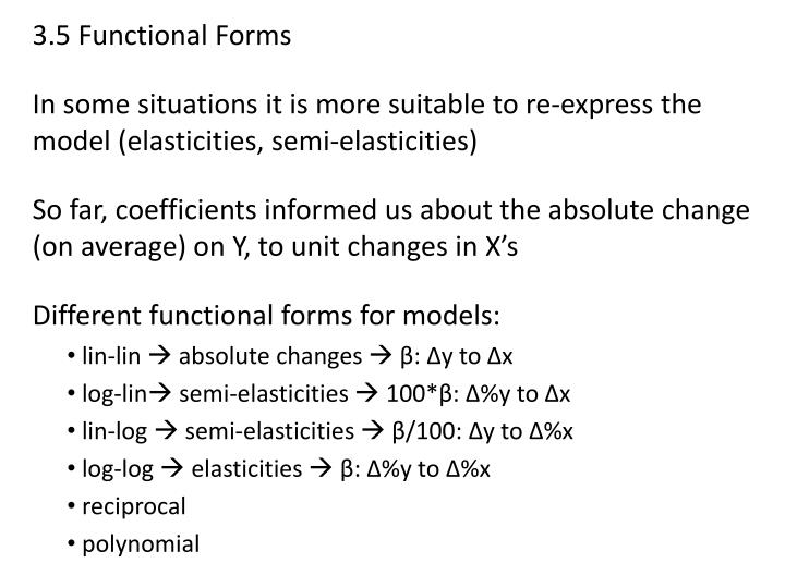 3.5 Functional Forms